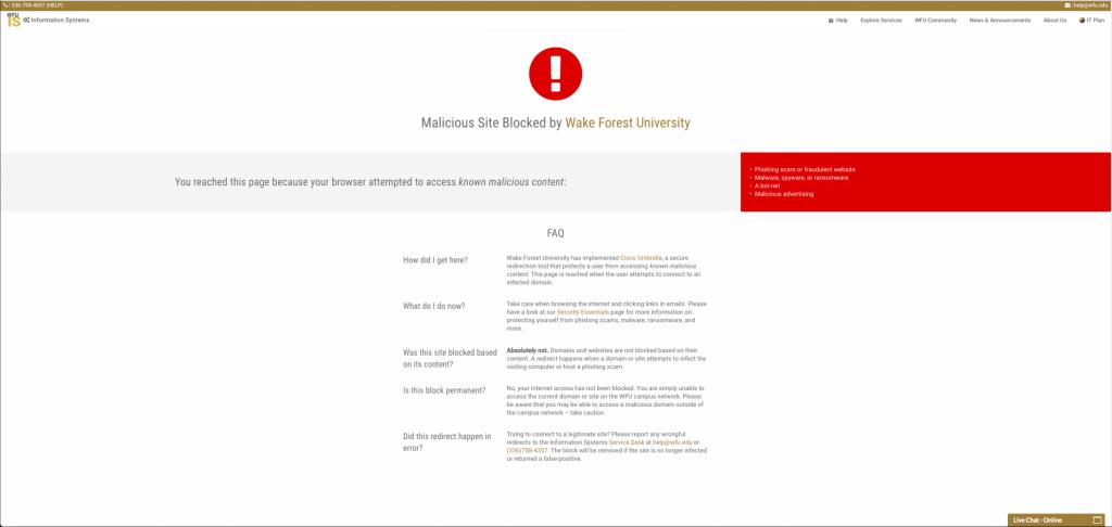 Malicious Site Blocked - Screenshot