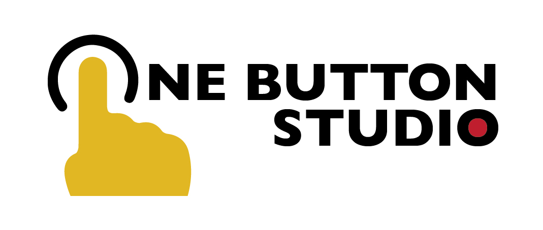 """One Button Studio logo with yellow finger pressing button as the """"o"""" letter"""