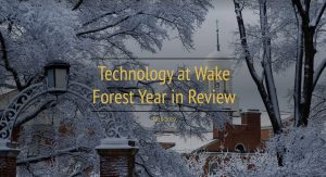 Click on the image of a winter scene on the Wake Forest Campus to view the Year in Review