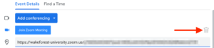 screenshot of icon to delete zoom meeting in google calendar invite.