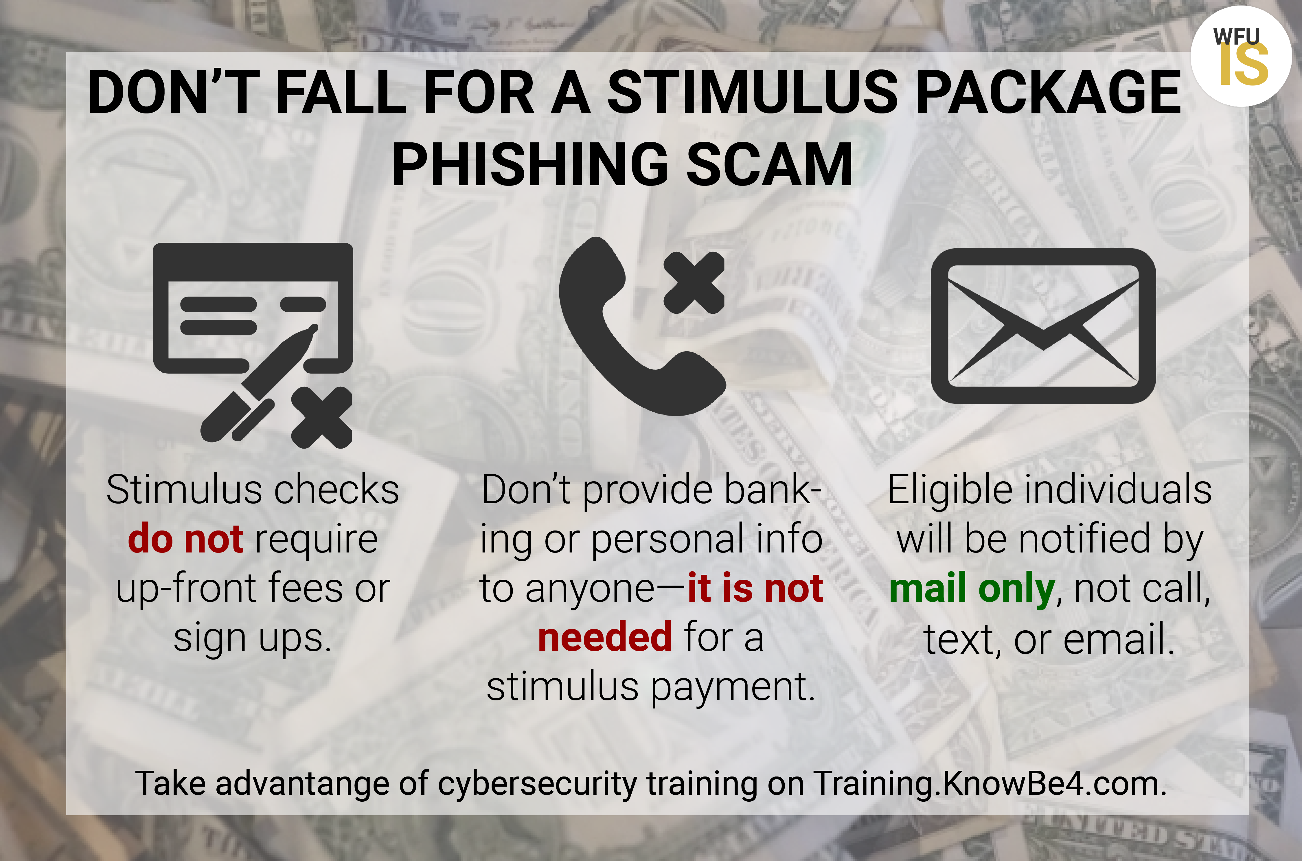 Graphic illustration of text describing how to protect against stimulus package phishing scam