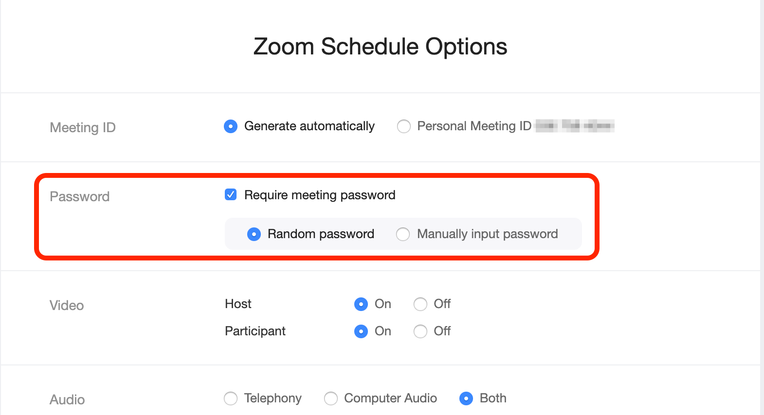 screenshot of Zoom Scheduler - indicate Require Meeting Password