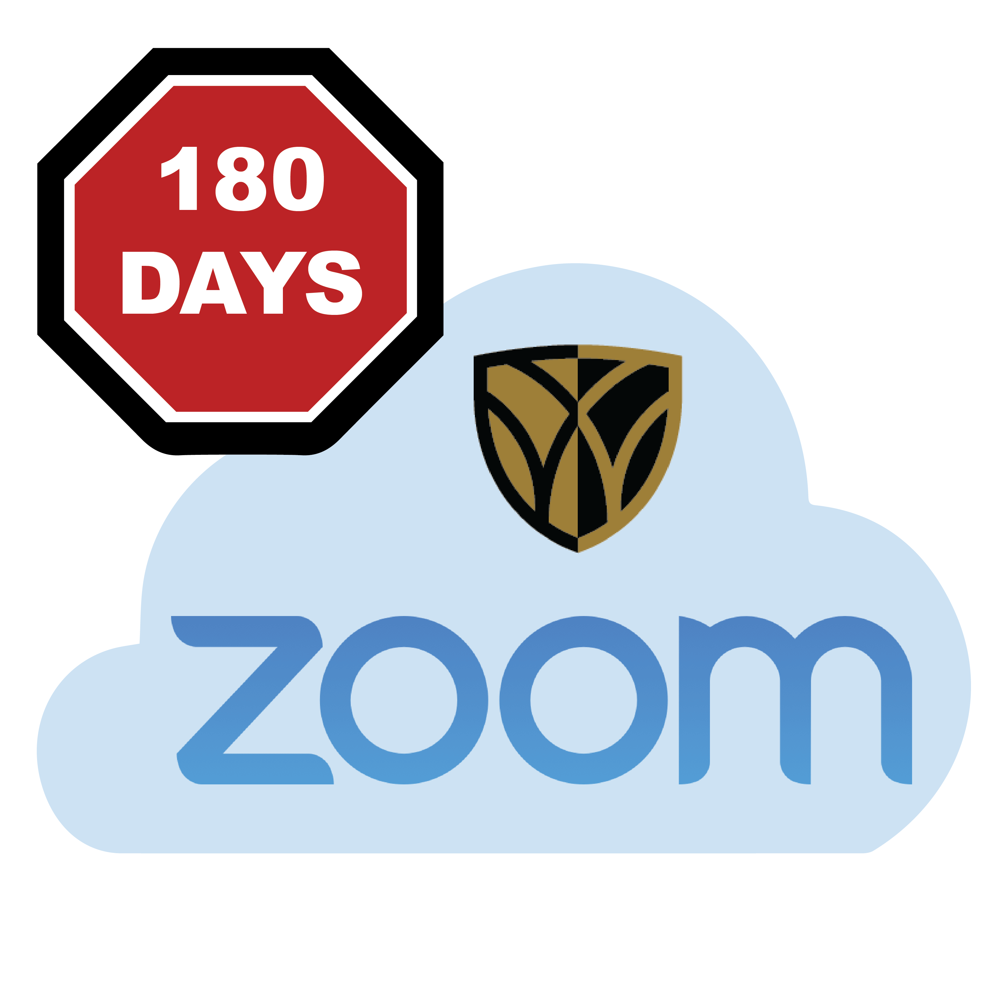 graphic of 180 days stop sign on top of the Zoom WFU Cloud