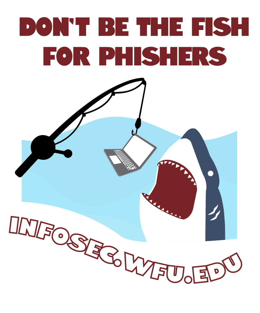 cybersecuirty month logo with a shark coming out of the water to get a computer on a fishing pole