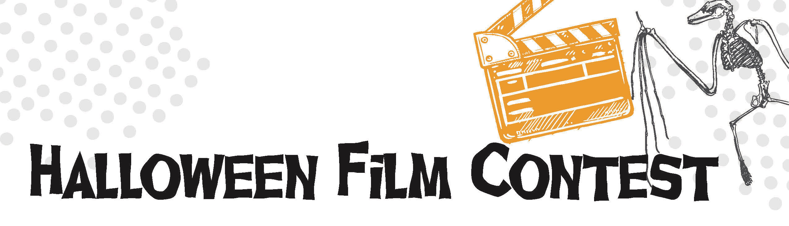 Halloween Film Contest promotion with skelton and spiderweb