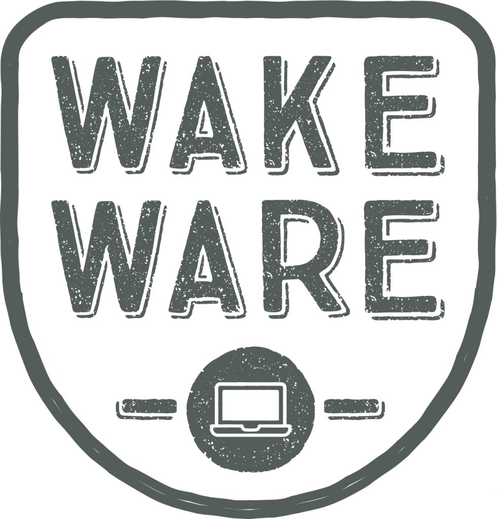Wakeware written inside a shield shape